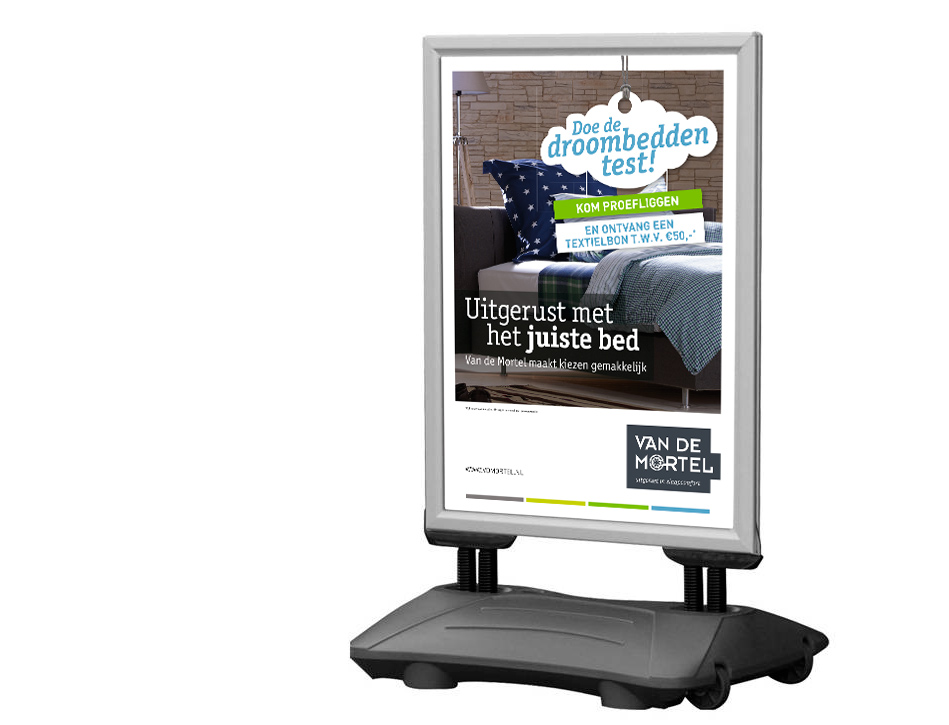 Van de Mortel - online Droombeddentest - stoepbordposter